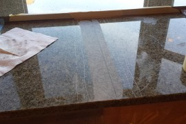 Granite counter top seam leveling and polishing