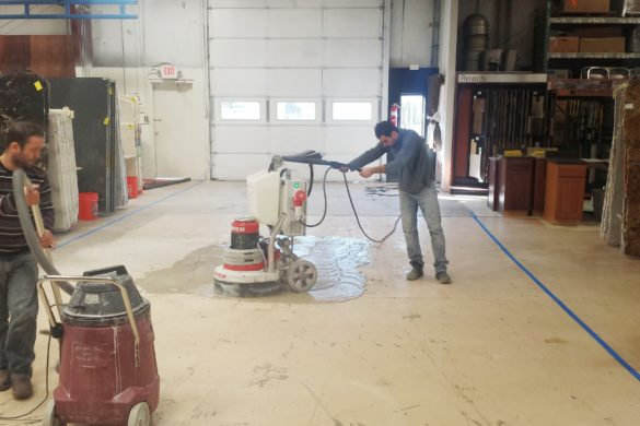 Concrete polishing at TTS Granite Showroom