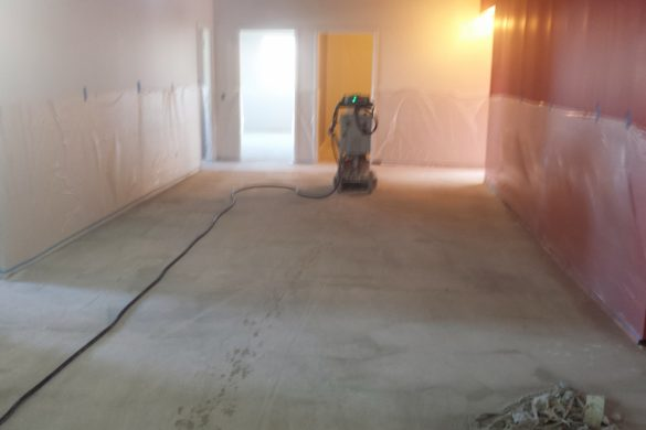 Concrete polishing at company office