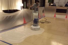 Limestone lobby restoration