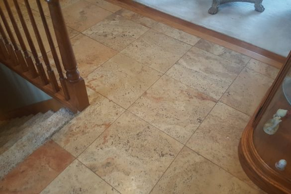 Travertine floor restoration in Lemont