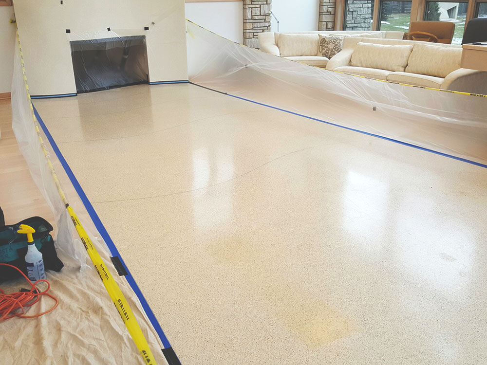 Protecting working areas and surrounding for Terrazzo and Marble restoration