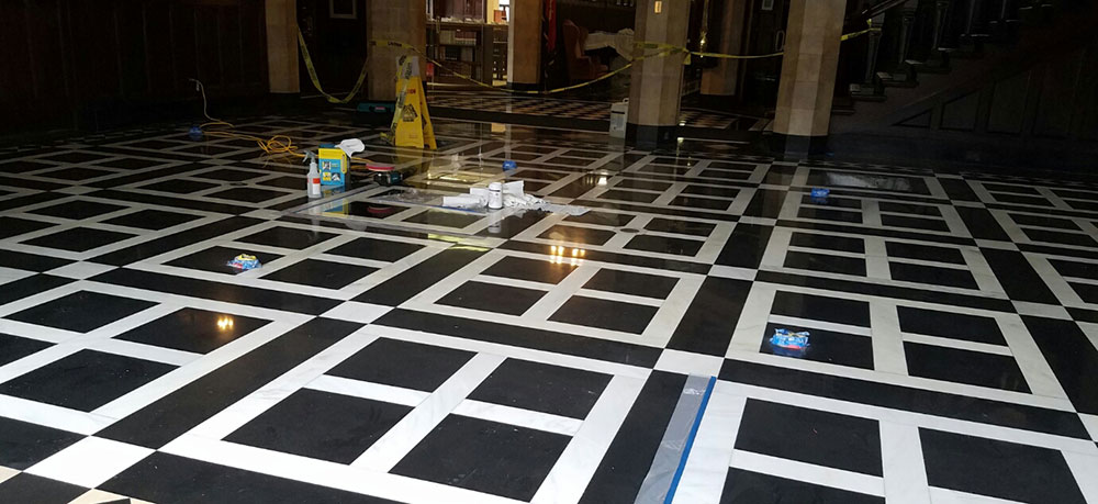 Restoration of Marble Lobby Floor in Chicago's Historical Mansion
