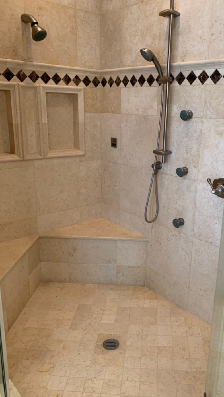 Stone shower surrounds cleaning