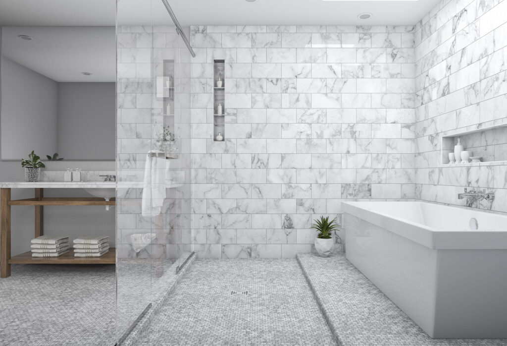 Marble shower grout
