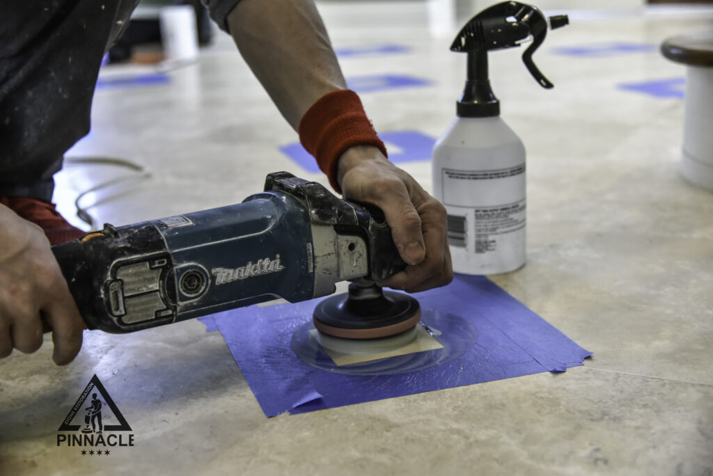 8 plus Refinishing System for travertine tile floor from series Seamless Floors Grout removal, lippage removal-seam leveling, grinding, honing, sealing