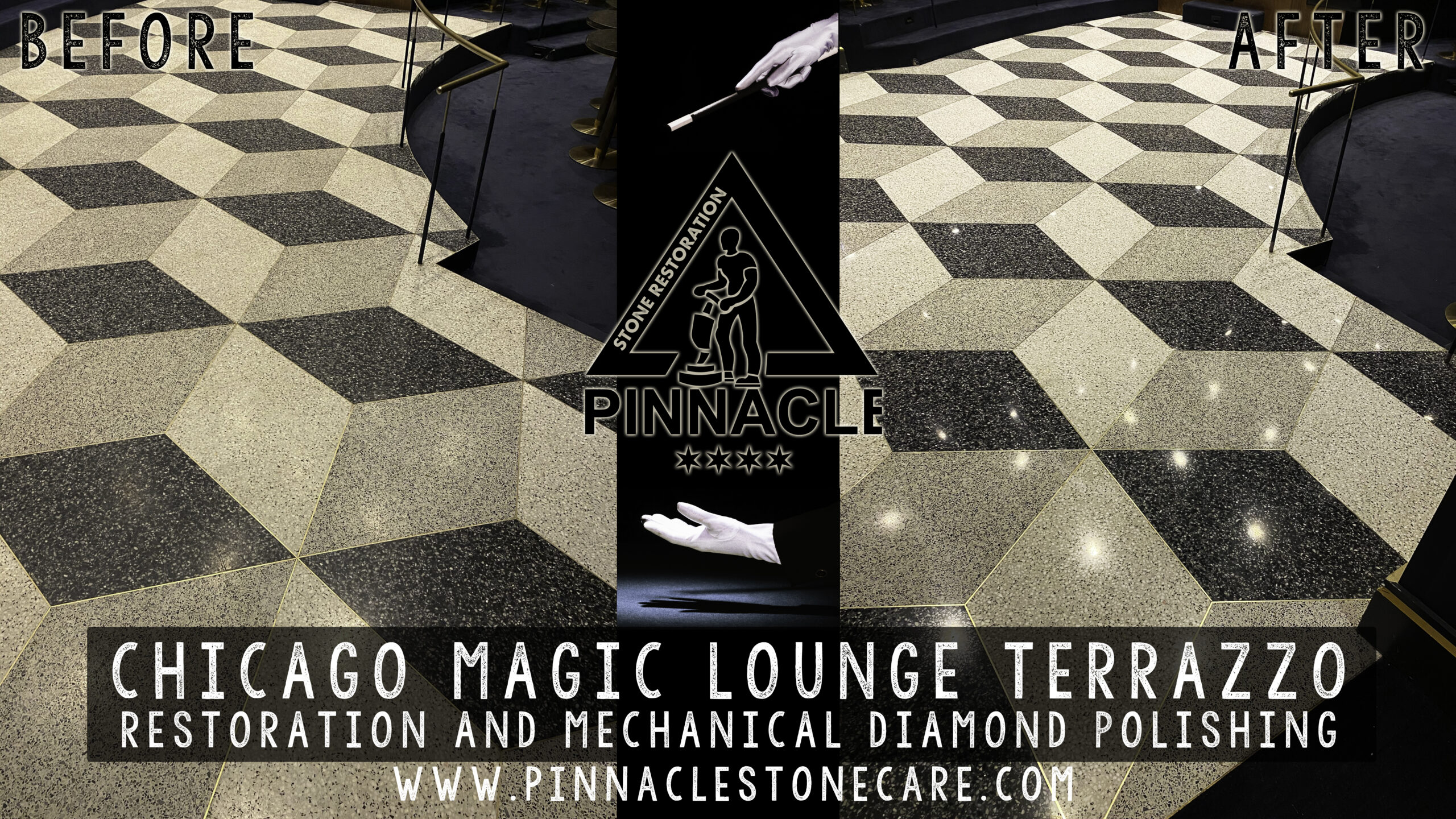Chicago Magic Lounge terrazzo restoration and mechanical diamond polishing