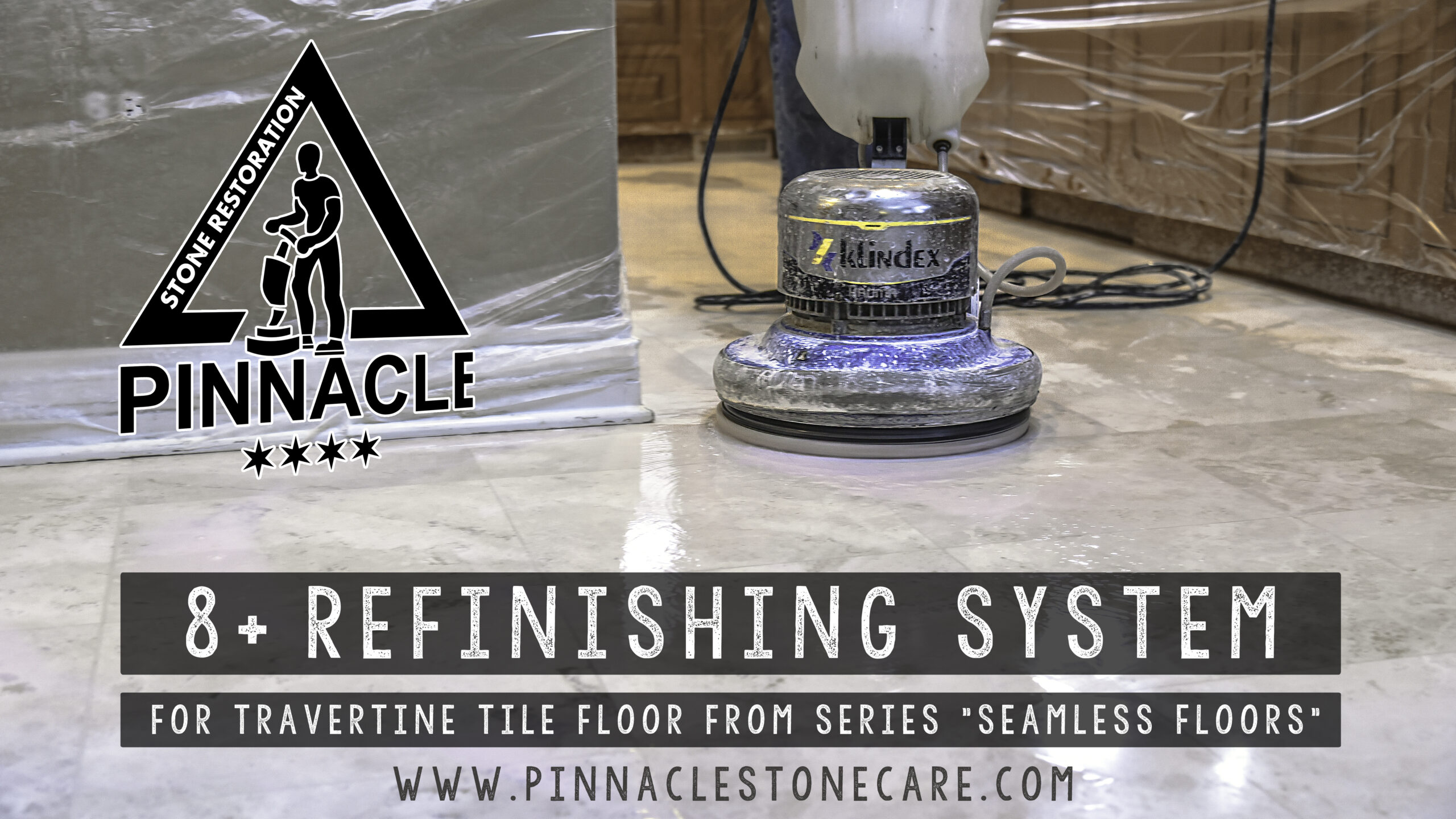 "8+Refinishing System for travertine tile floor from series ""Seamless Floors"" (Grout removal, lippage removal/seam leveling, grinding, honing, sealing)"