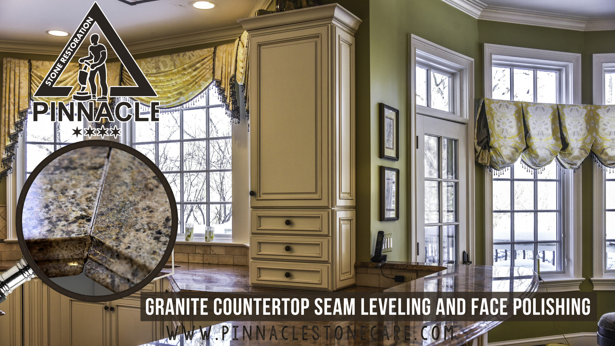 GRANITE COUNTERTOP SEAM LEVELING AND FACE POLISHING