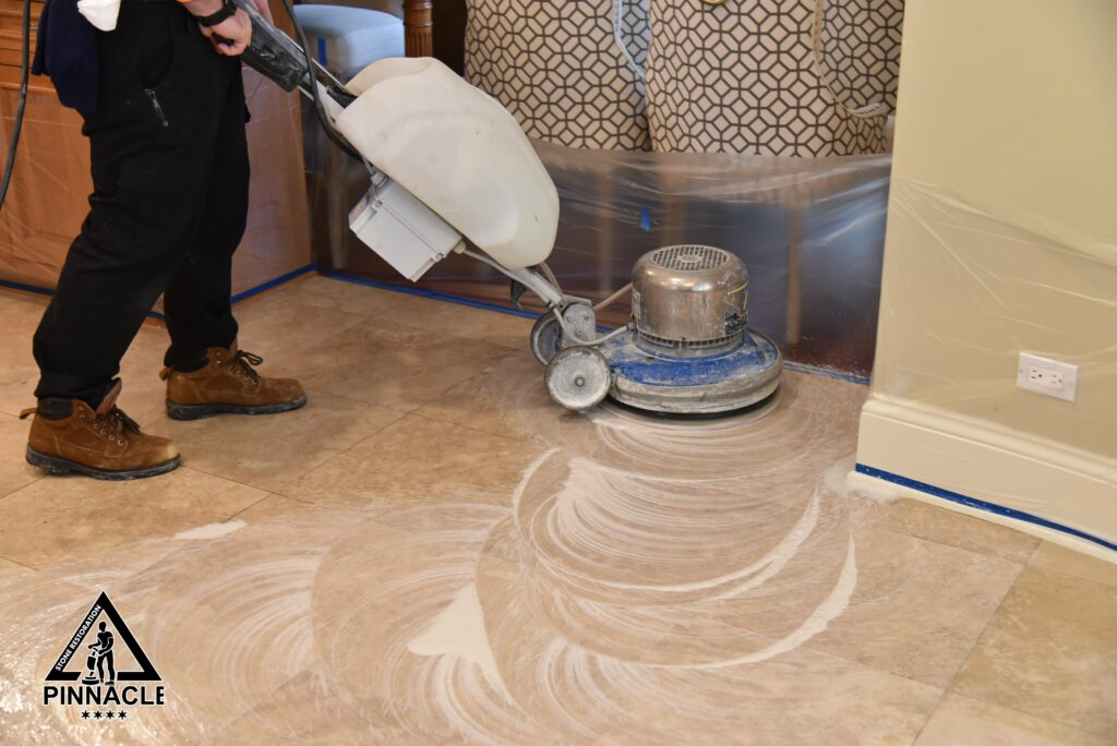TRAVERTINE TILE FLOOR RESTORATION stripping honing polishing grout cleaning hole filling