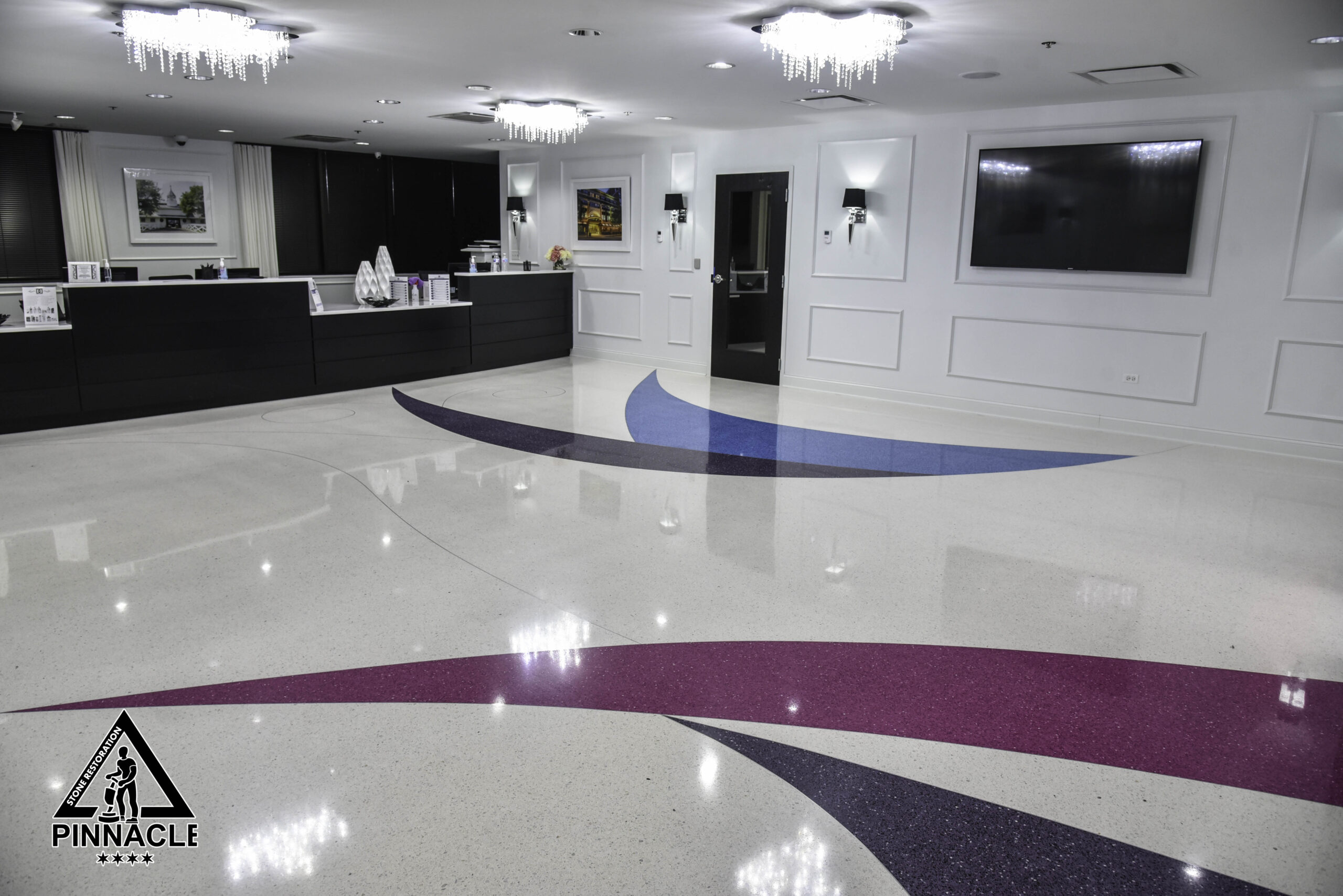 TERRAZZO FLOOR RESTORATION – Terrazzo floor stripping, honing, polishing, sealing, buffing