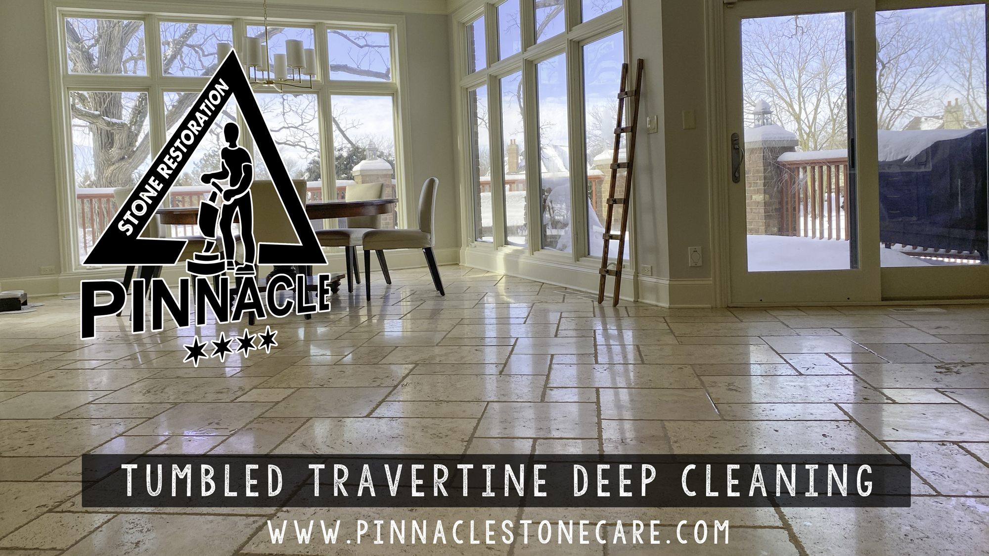 TUMBLED TRAVERTINE DEEP CLEANING AND REFINISHING