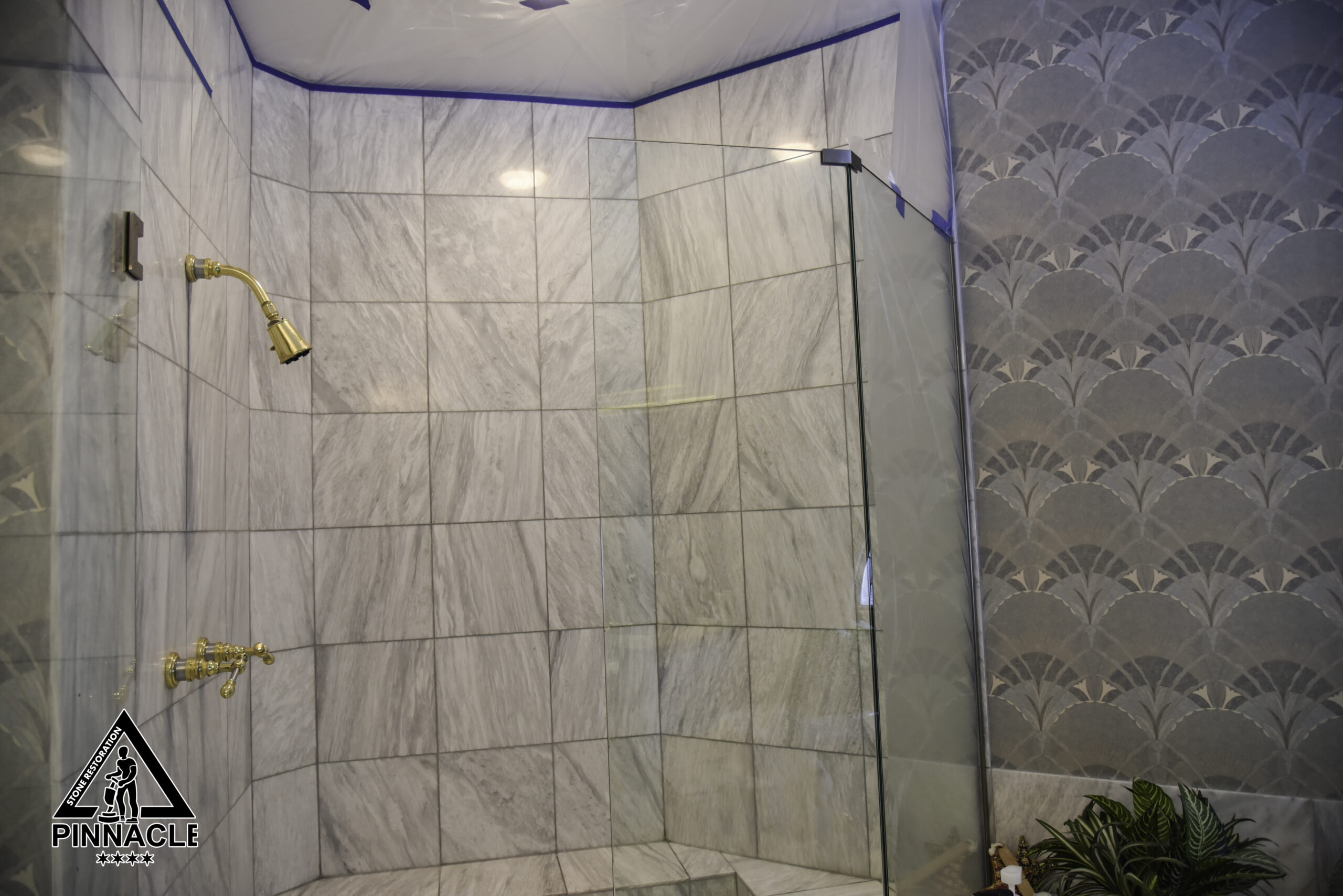 White Marble Shower Restoration