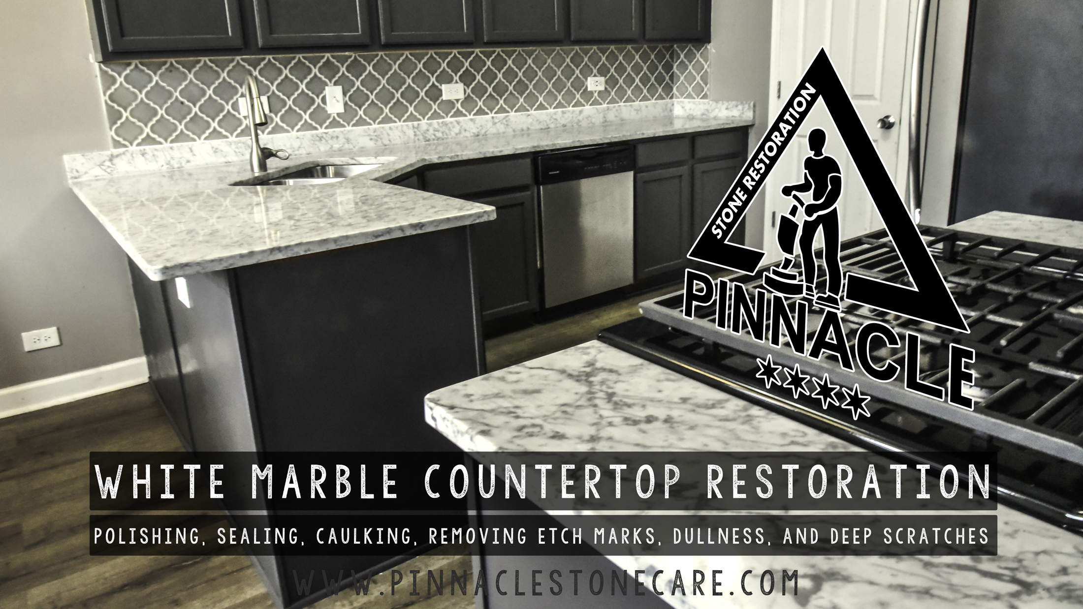 White Marble Countertop Restoration