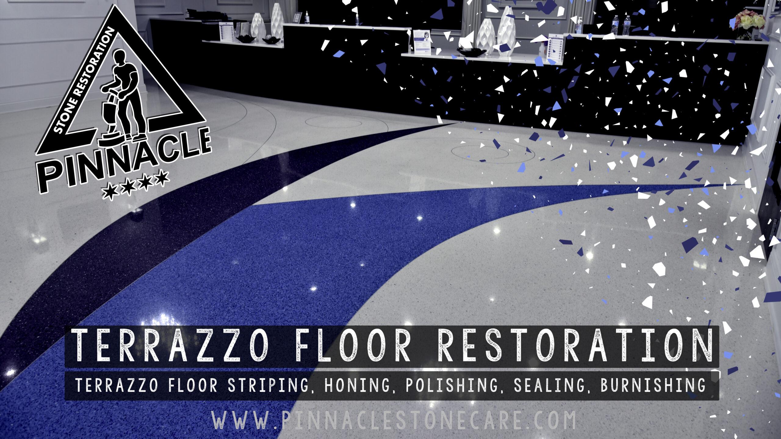 TERRAZZO FLOOR RESTORATION – Terrazzo floor stripping, honing, polishing, sealing, buffing (Terrazzo Refinishing Steps)