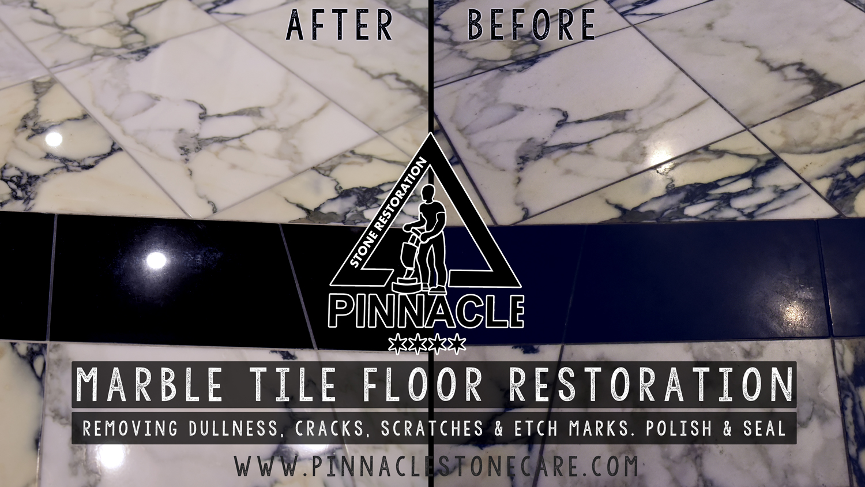 Marble Tile Floor Restoration (Marble tile polishing, removing dullness, scratches, etch marks)