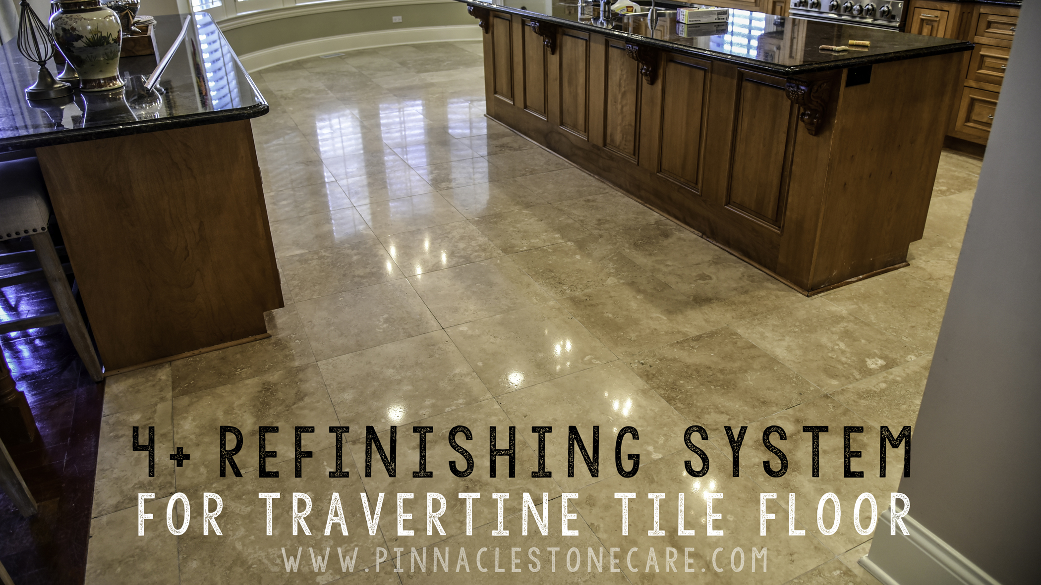 4+ restoration system of travertine tile floor