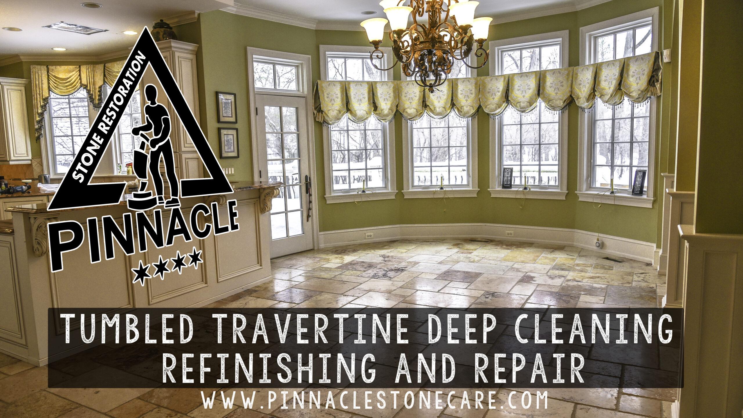 Tumbled Travertine floor deep cleaning, refinishing, and repair Repair