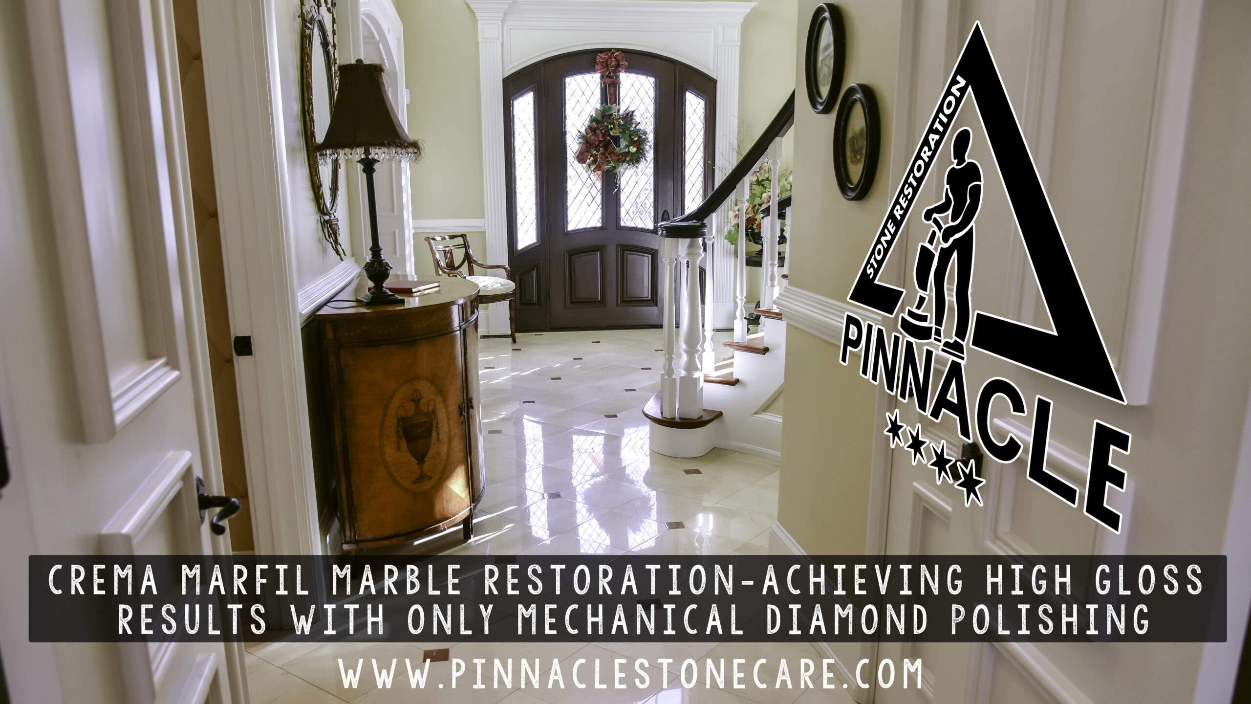 CREMA MARFIL MARBLE FLOOR RESTORATION – HIGH GLOSS RESULTS WITH ONLY MECHANICAL DIAMOND POLISHING STEPS