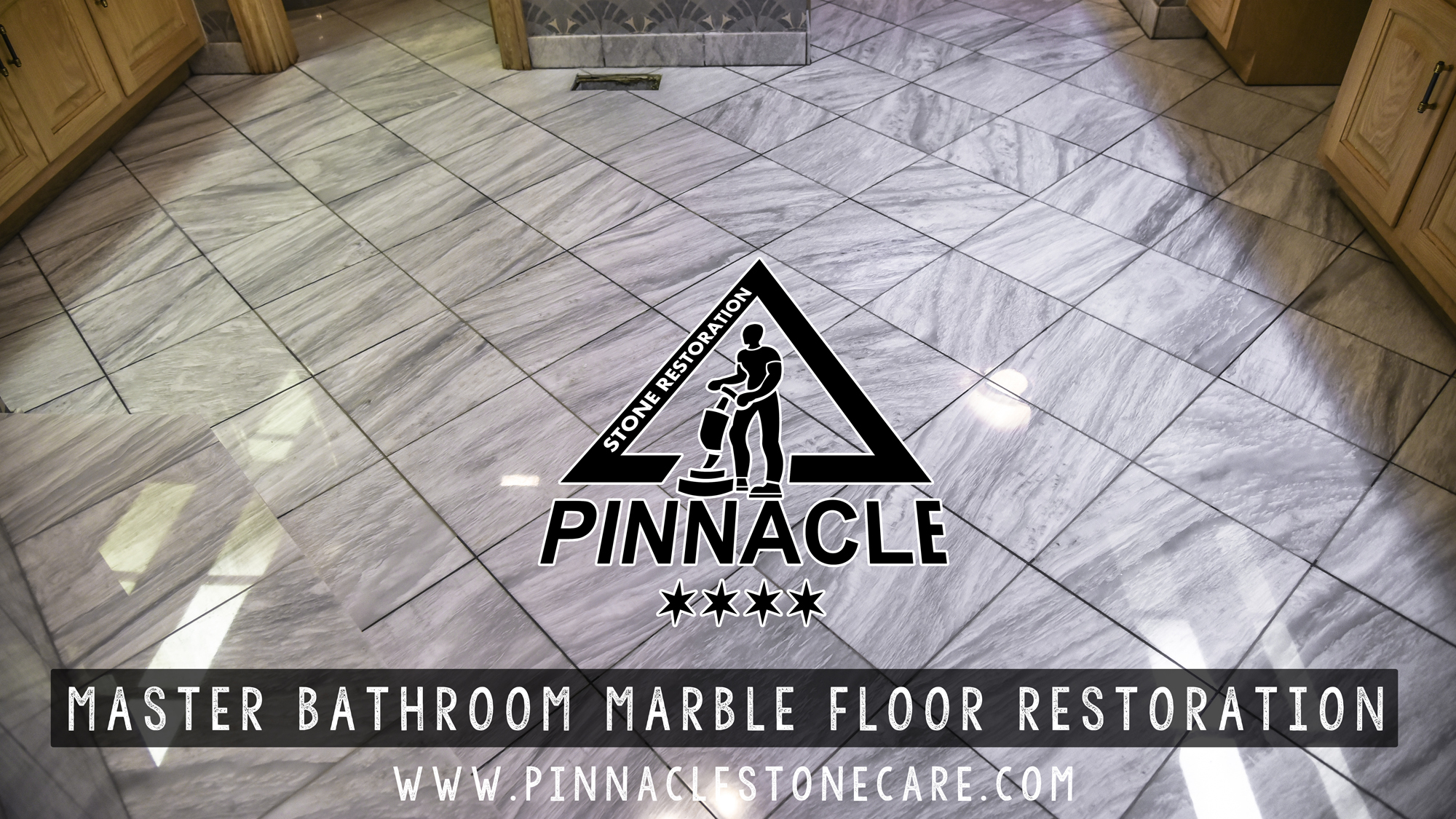 Master Bathroom White Marble Floor Restoration
