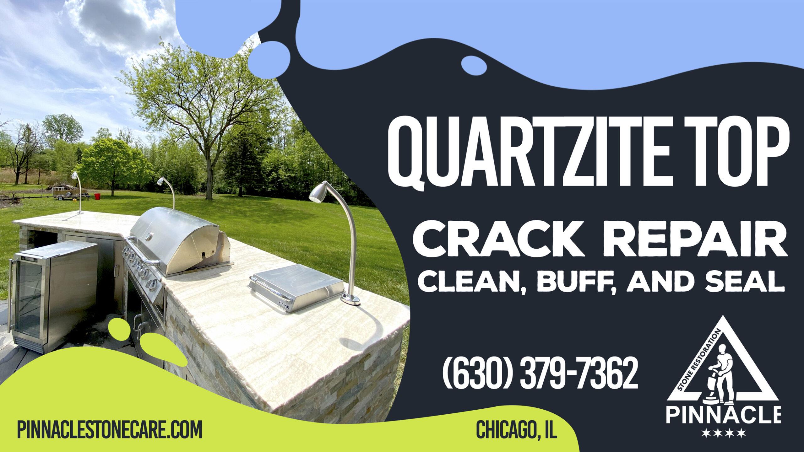 QUARTZITE COUNTERTOP CRACK REPAIR, DEEP CLEAN, BUFF, AND SEAL (OUTDOOR COUNTERTOP REPAIR)