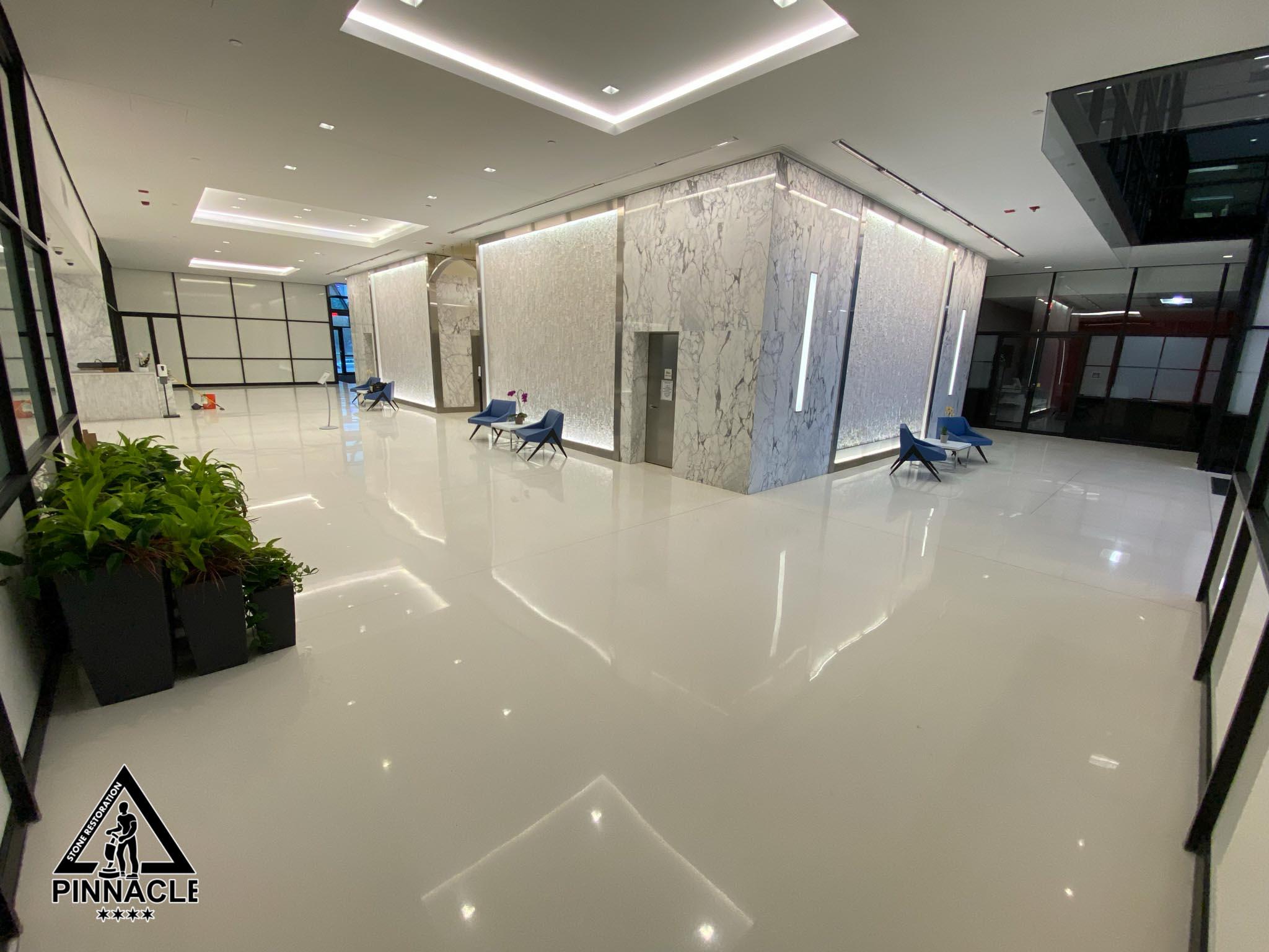 Lobby White Terrazzo Floor Restoration – grinding, grouting, honing, polishing, sealing, burnishing