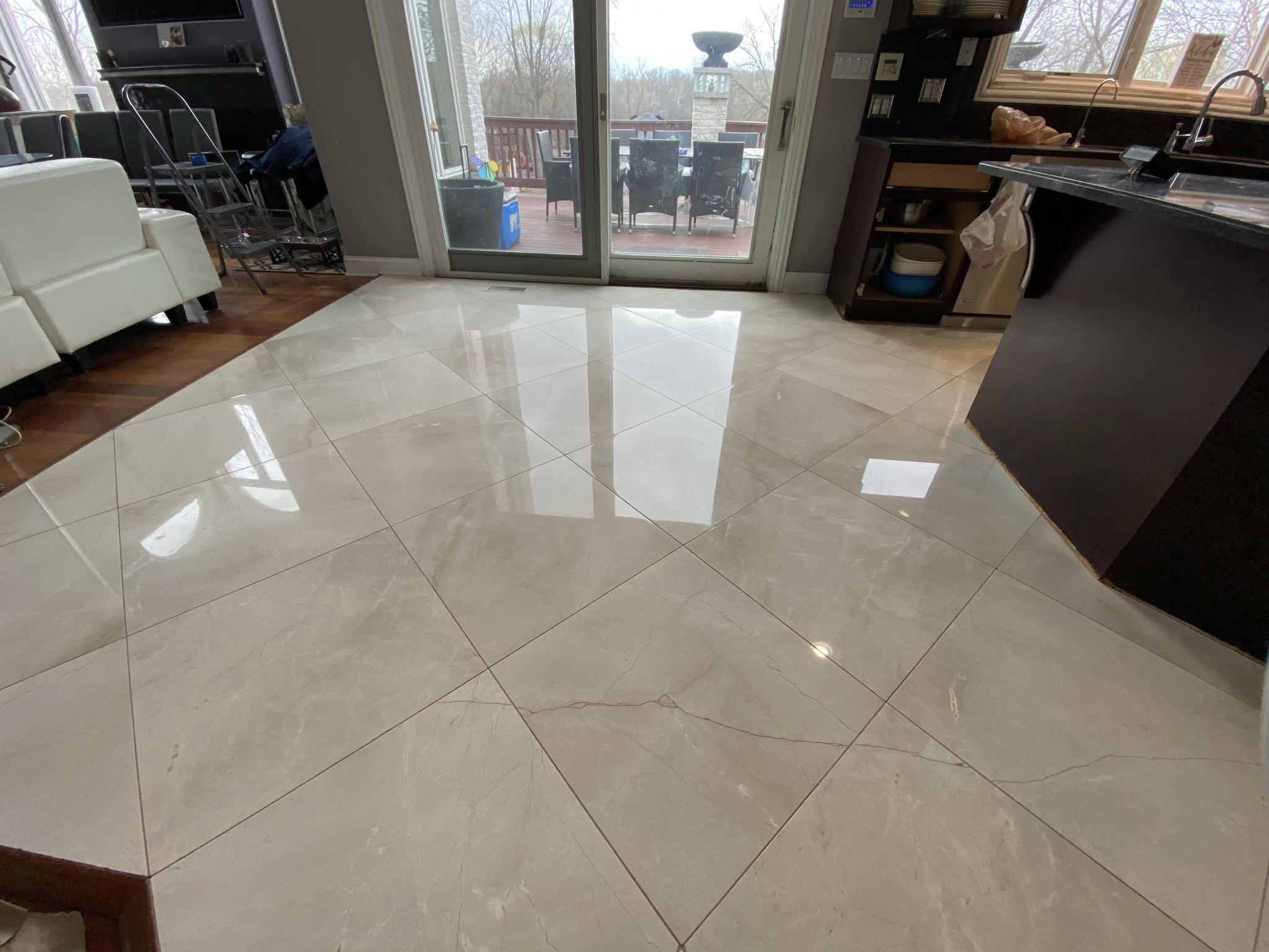 Kitchen Marble Tile Floor Restoration – marble polishing, sealing, tile crack repair
