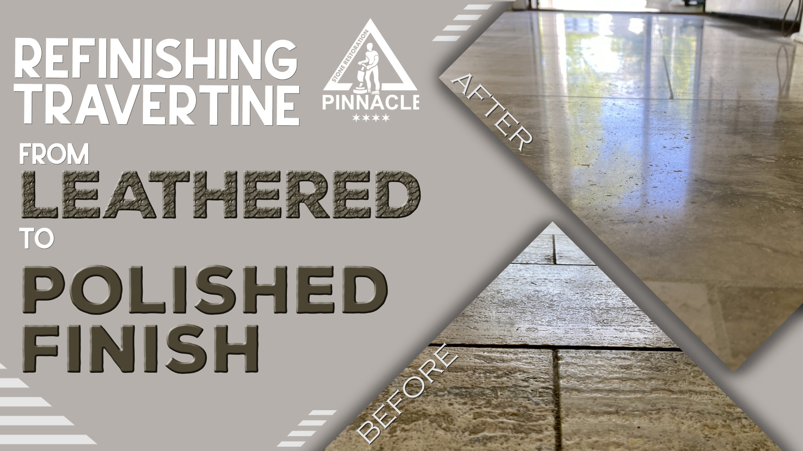 Refinishing travertine from leathered to polished finish. Travertine tile lippage removal, polishing