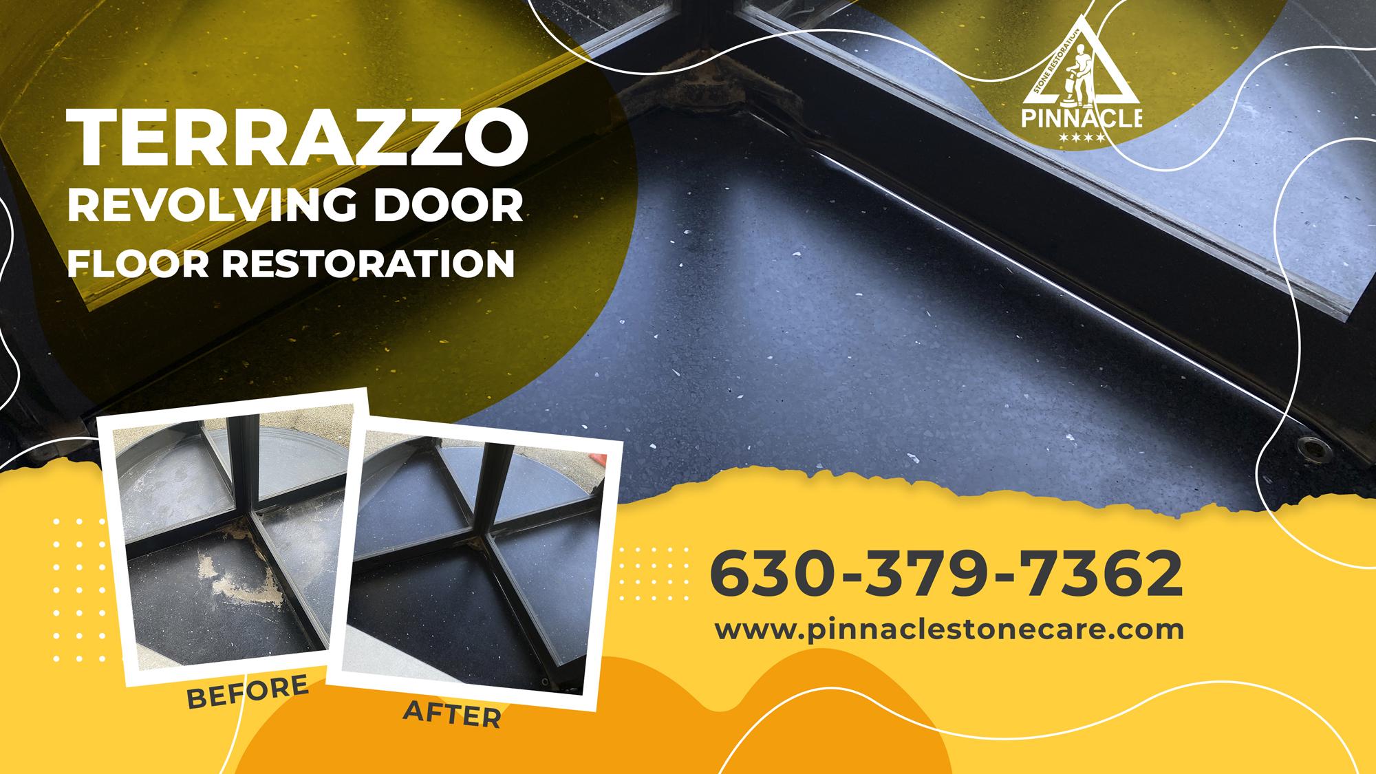 Terrazzo Floor Revolving Door Restoration (Terrazzo grinding, polishing, sealing)